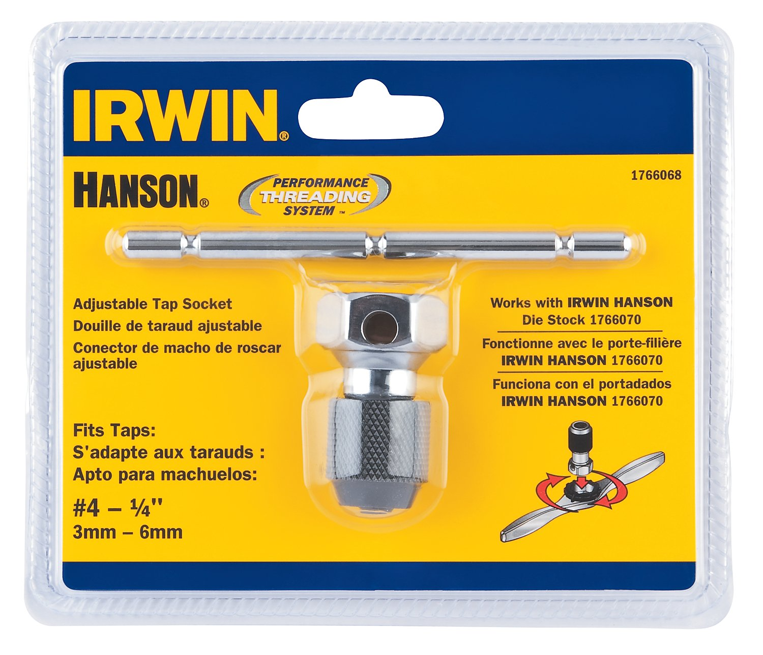 Hanson 1766068 Pts T-Handle Tap Wrench Number 4 for Tap Die Extraction, 1/4''
