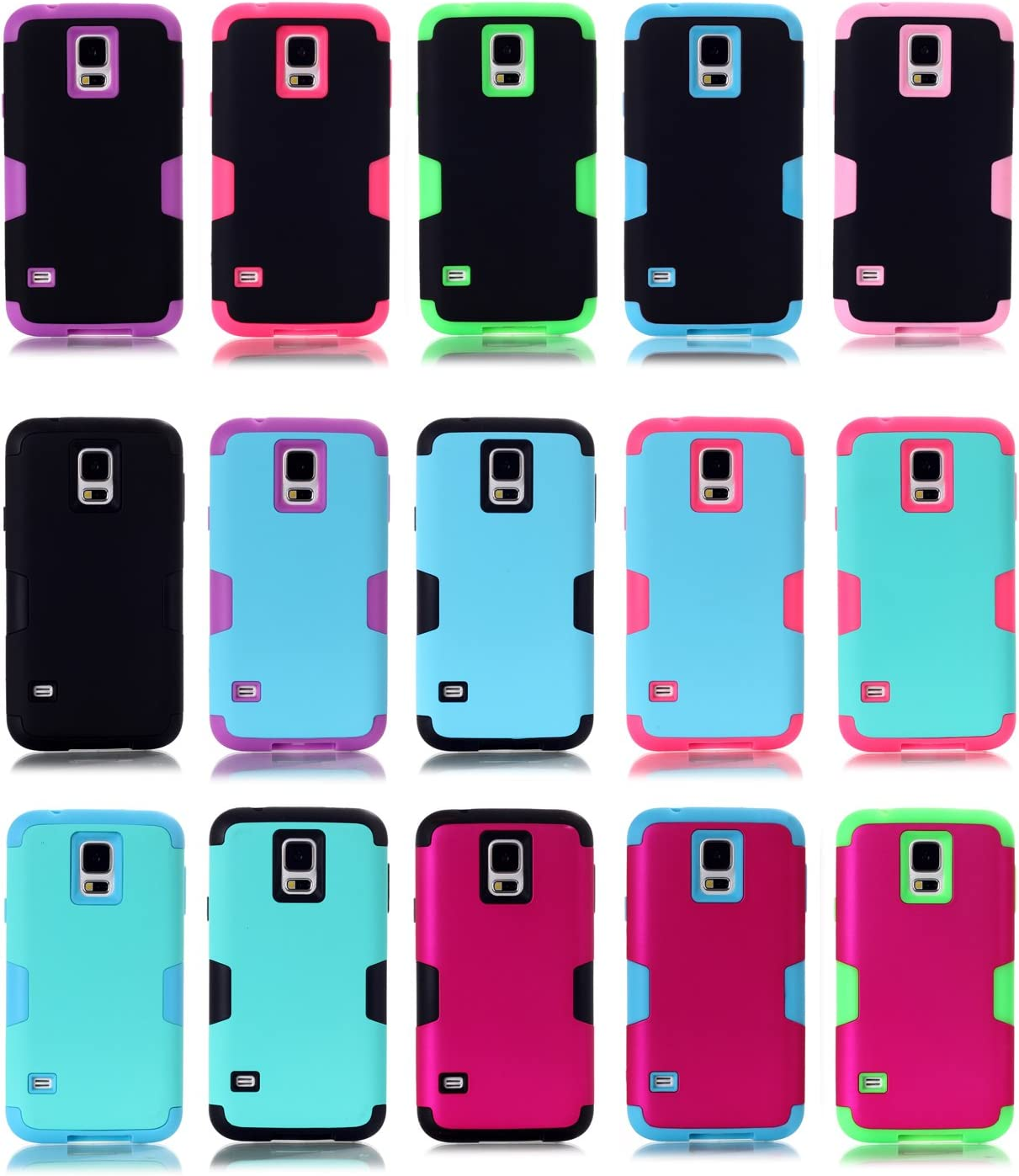 green Slim Thin Galaxy S5 Case with Kickstand Heavy Duty Armor 3 Layer Hybrid Shock Absorption Scratch Resistant TPU Skin Silicone Full-body Protective for Samsung Galaxy S5