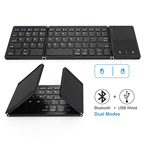 b05c37d7f6c Foldable Bluetooth Keyboard, Vive Comb Dual Mode Bluetooth & USB Wired  Rechargable Portable Mini BT