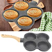 Non-Stick Frying Pan Omelet Pan Breakfast Pan with 4 Holes for Pancake Egg Bacon Burgers Dumpling for Induction Cooker…