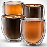 Anchor & Mill Set of 4 Double Walled Glass Coffee Mugs, 8.5 Ounce, Milano Collection, Insulated Cups for Espresso, Latte, Cappuccino, Tea, Box Set AM-01