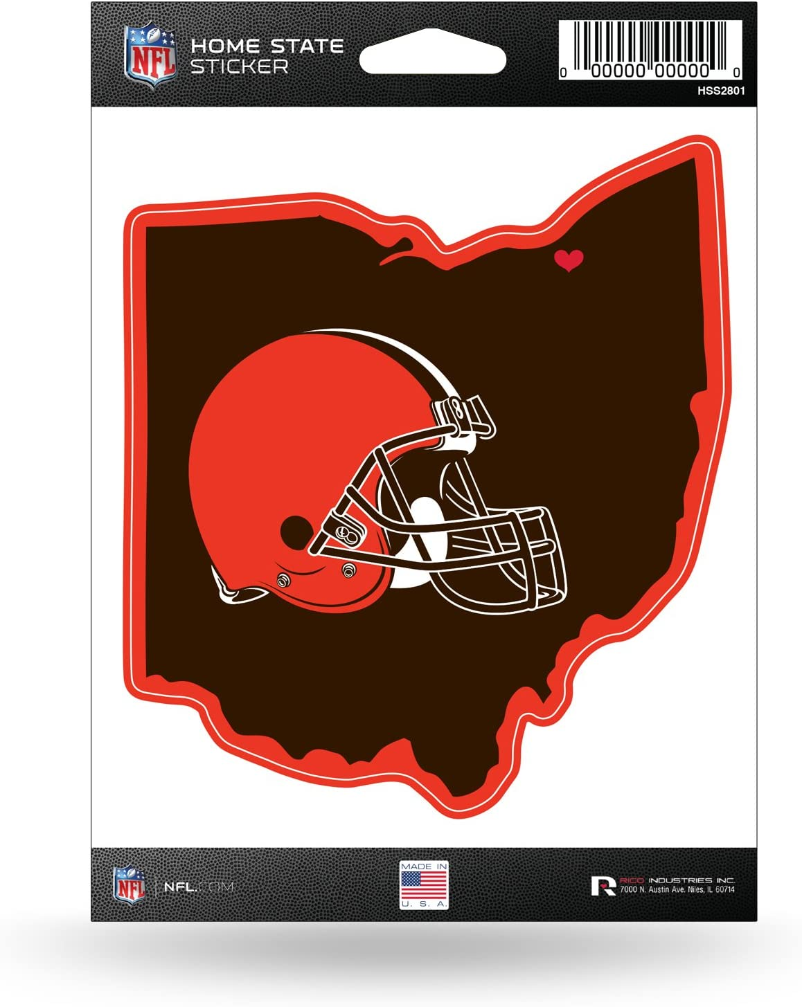 NFL Rico Industries Home State Sticker, Cleveland Browns Team Color, 5.75 x 8-inches