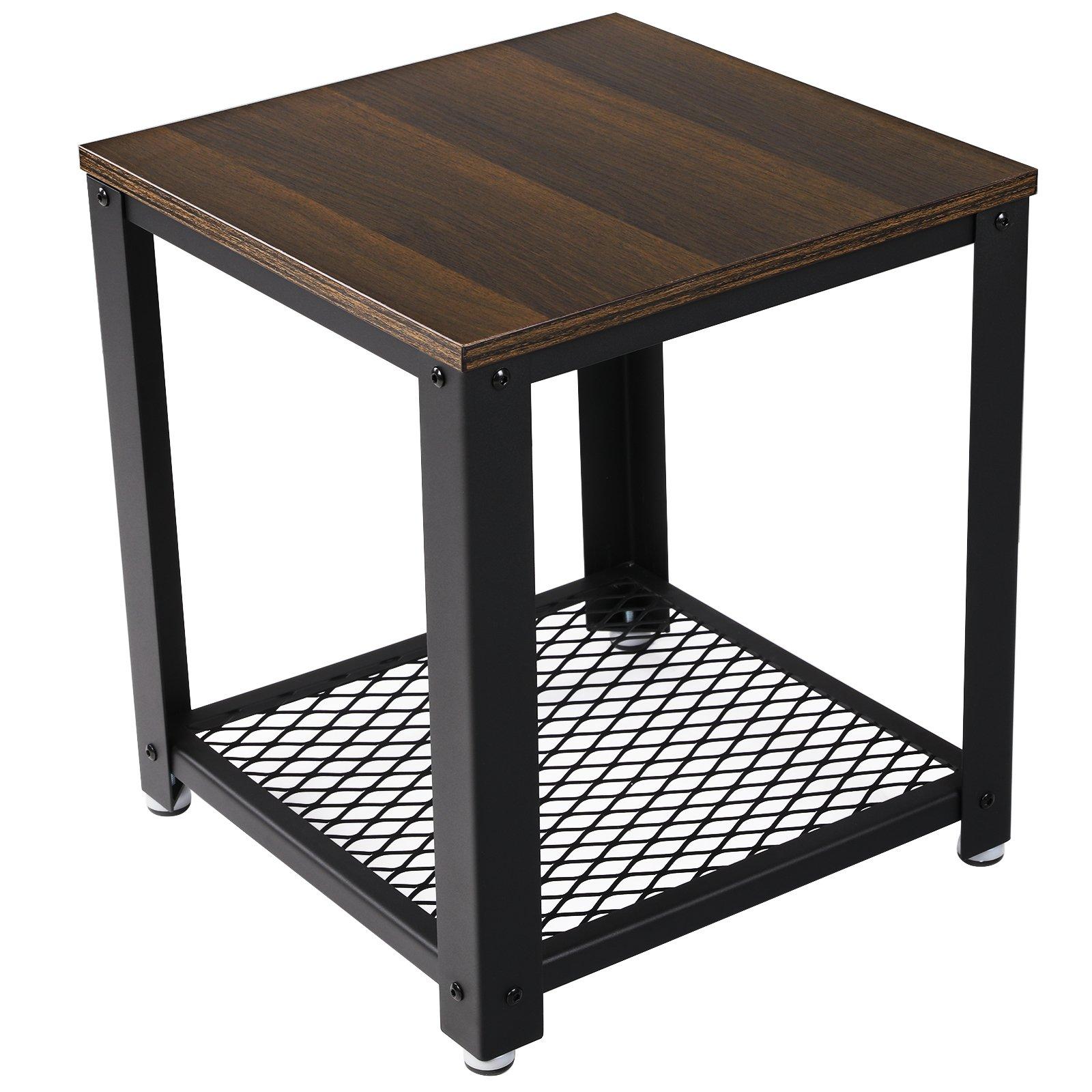 VASAGLE 2-Tier End Square-Frame Side Table with Metal Grate Shelf Dark Walnut ULET41K by VASAGLE
