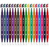 Dual Coloring Pens, 18 Color Dual Brush Pen Art Marker, Double-end Colored Markers Fine Tip Pen for Journaling Coloring…
