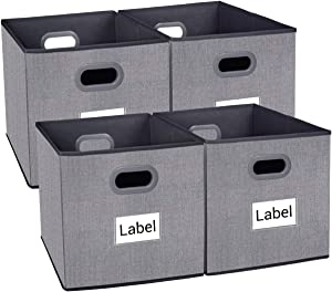 homyfort Cloth Storage Bins, Foldable Cubes Basket Organizer Container Drawers with Dual Plastic Handles for Closet, Bedroom, Toys,Set of 4 Grey with Pattern(13x13x13in)