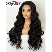 K'ryssma #2 Dark Brown Lace Front Wigs Wavy Natural Looking Long Wavy Synthetic Wig Heat Resistant 22 inches Long Brown Wigs for Women