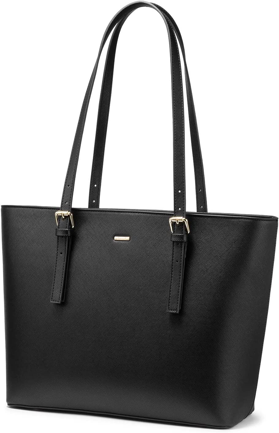 LOVEVOOK Computer Bags for Women Leather Tote Bag Laptop Handbag Work Purse, Black