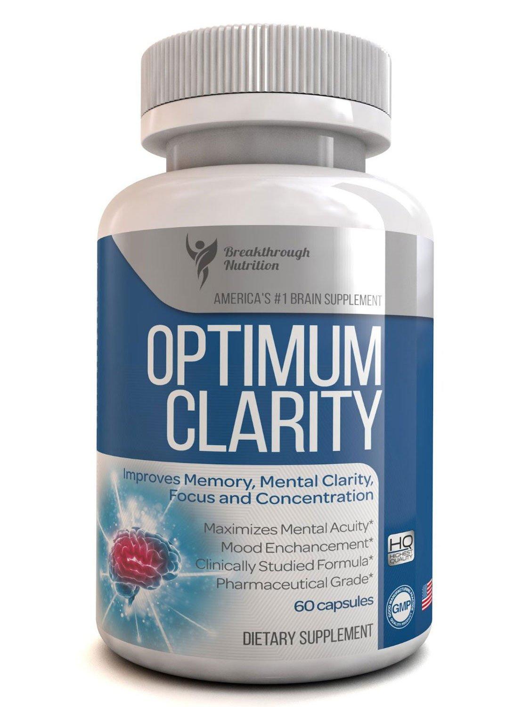 Optimum Clarity Brain Supplement - #1 All Natural Super Potent Brain Formula 60-day Supply