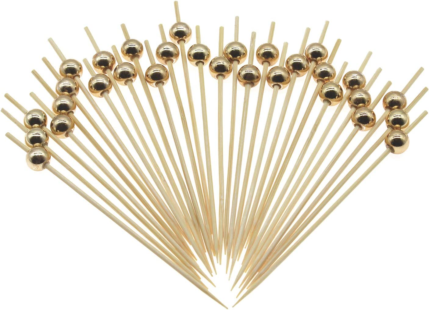 Minisland Bamboo Cocktail Picks 4.7 Inch Long Fancy Toothpicks for Appetizers Drinks Fruits Party Food Garnish Skewer Sticks 100 Counts- Gold Pearl