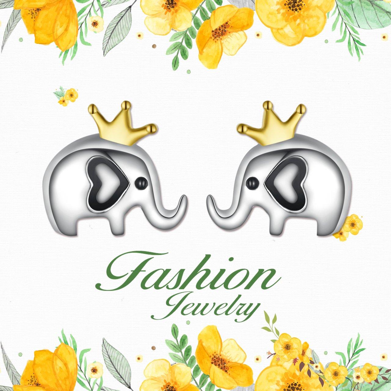925 Sterling Silver Lucky Elephant Stud Earrings For Women Girls