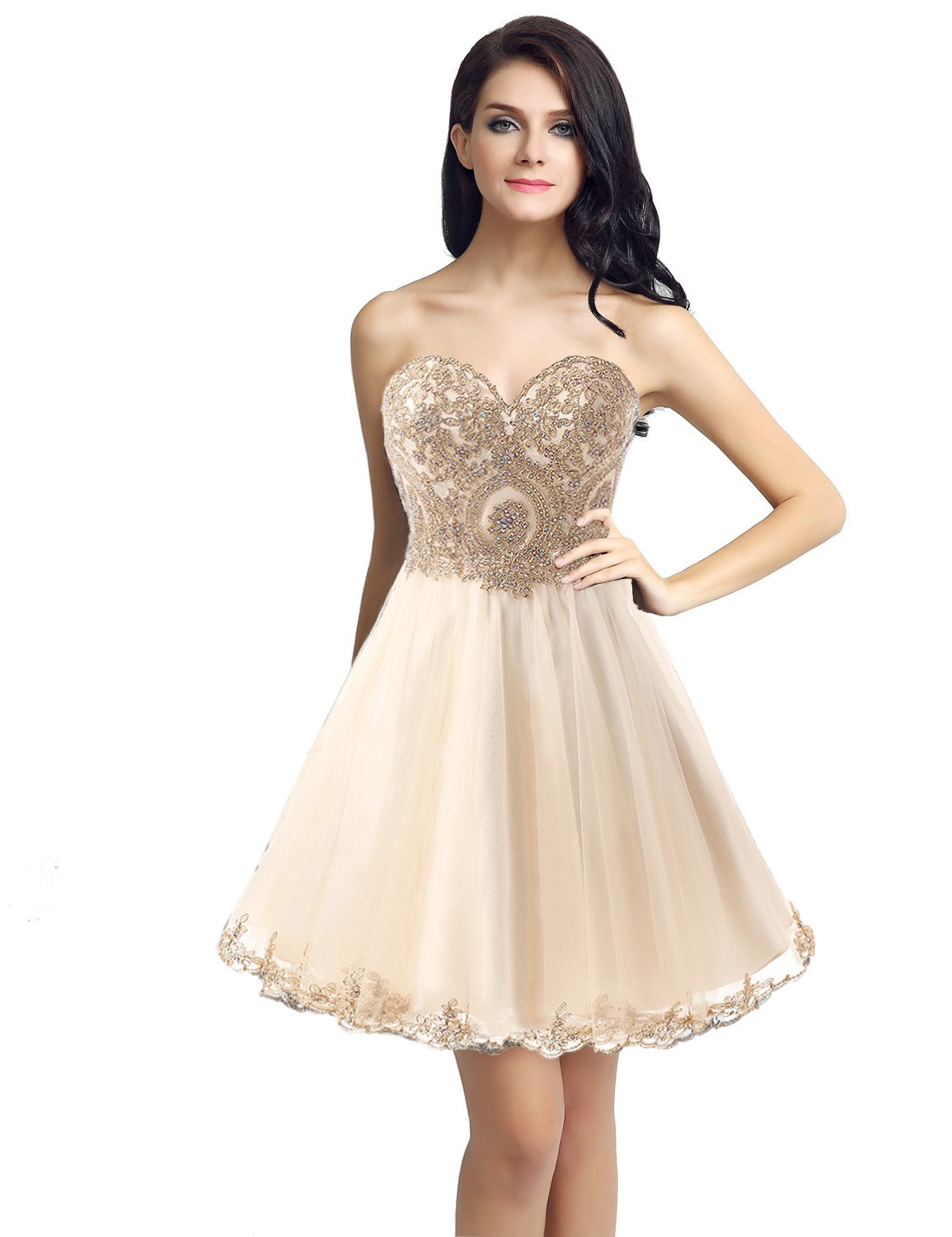 Prom Dress In Ivory and Gold: Amazon.com