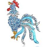 Alilang Golden Tone Multi Light Topaz Colored Rhinestones Chicken Rooster Hen Brooch Pin