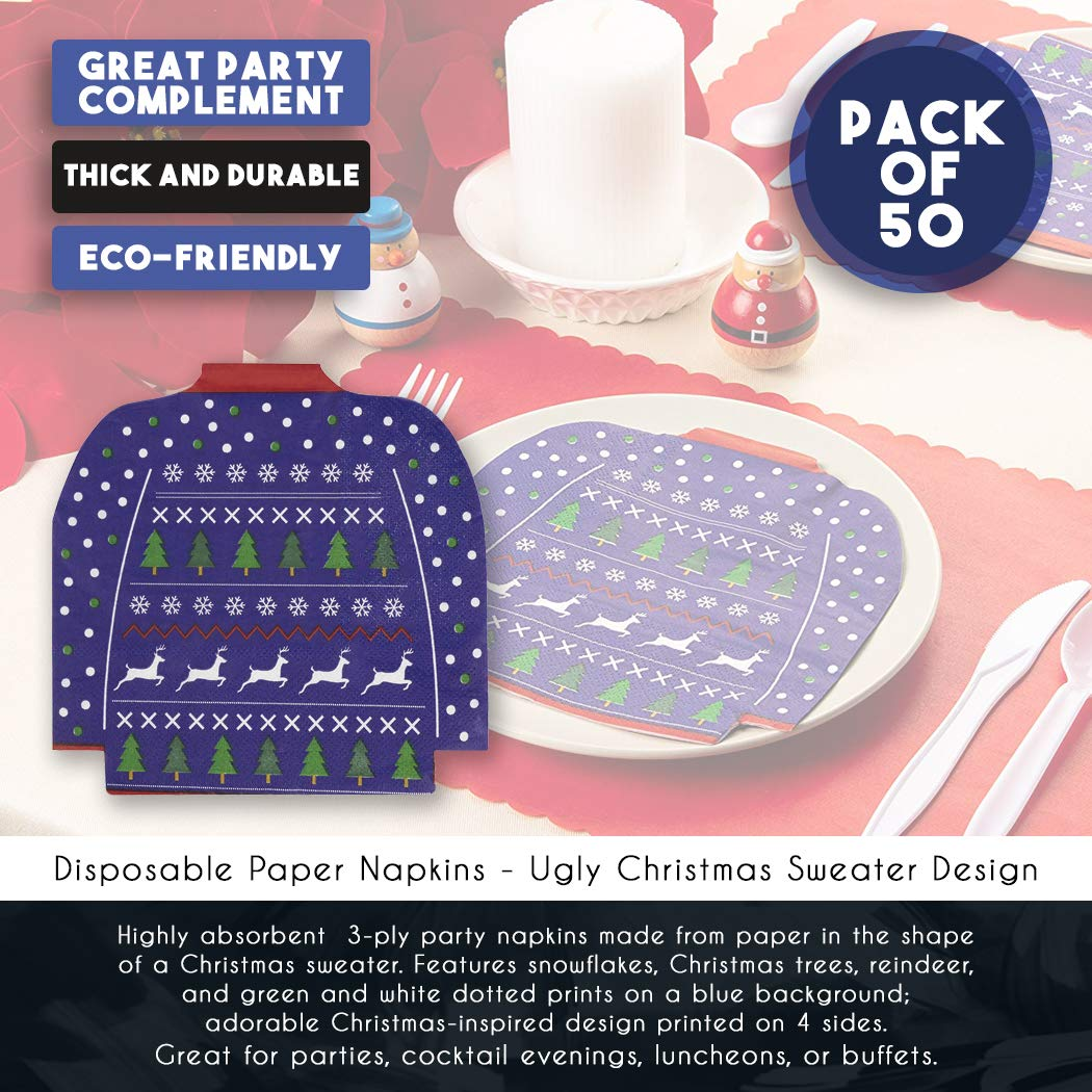 3-Ply Christmas Holidays Dinner Party Supplies Santa Claus Die-Cut Shaped Design Cocktail Napkins 50-Pack Disposable Paper Napkins Red and White Folded 4.6 x 6.25 Inches