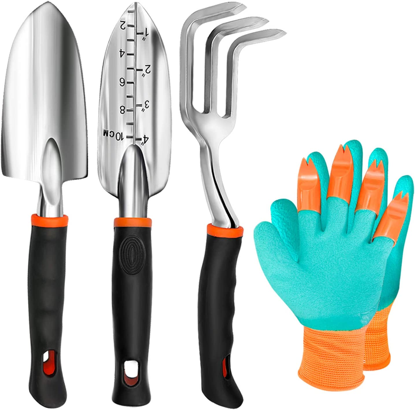 TYHJOY Gardening Tools Set, 4 Pack Heavy Duty Aluminum Garden Transplant Trowel, Cultivator Hand Rake, Shovels Tools and Gloves Set, Garden Gifts