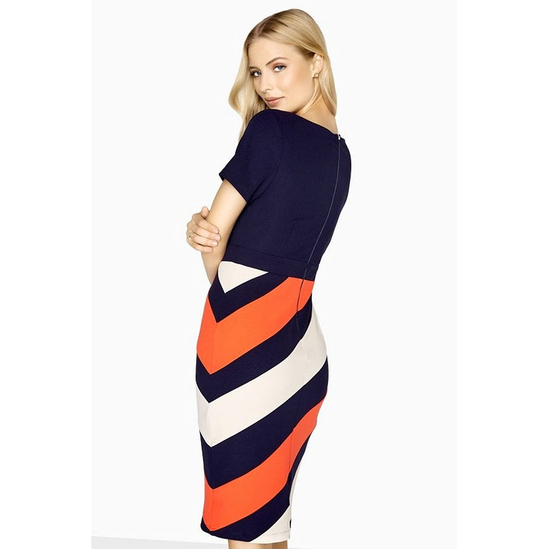 0d6ae6b49e6 Paper Dolls Womens/Ladies Biarritz Diagonal Stripe Dress (8 UK)  (Navy/Stripe): Amazon.co.uk: Clothing