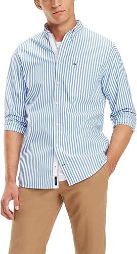 Camisa Tommy Hilfiger Organic Oxford Stripe Azul/Blanco: Amazon.es: Zapatos y complementos