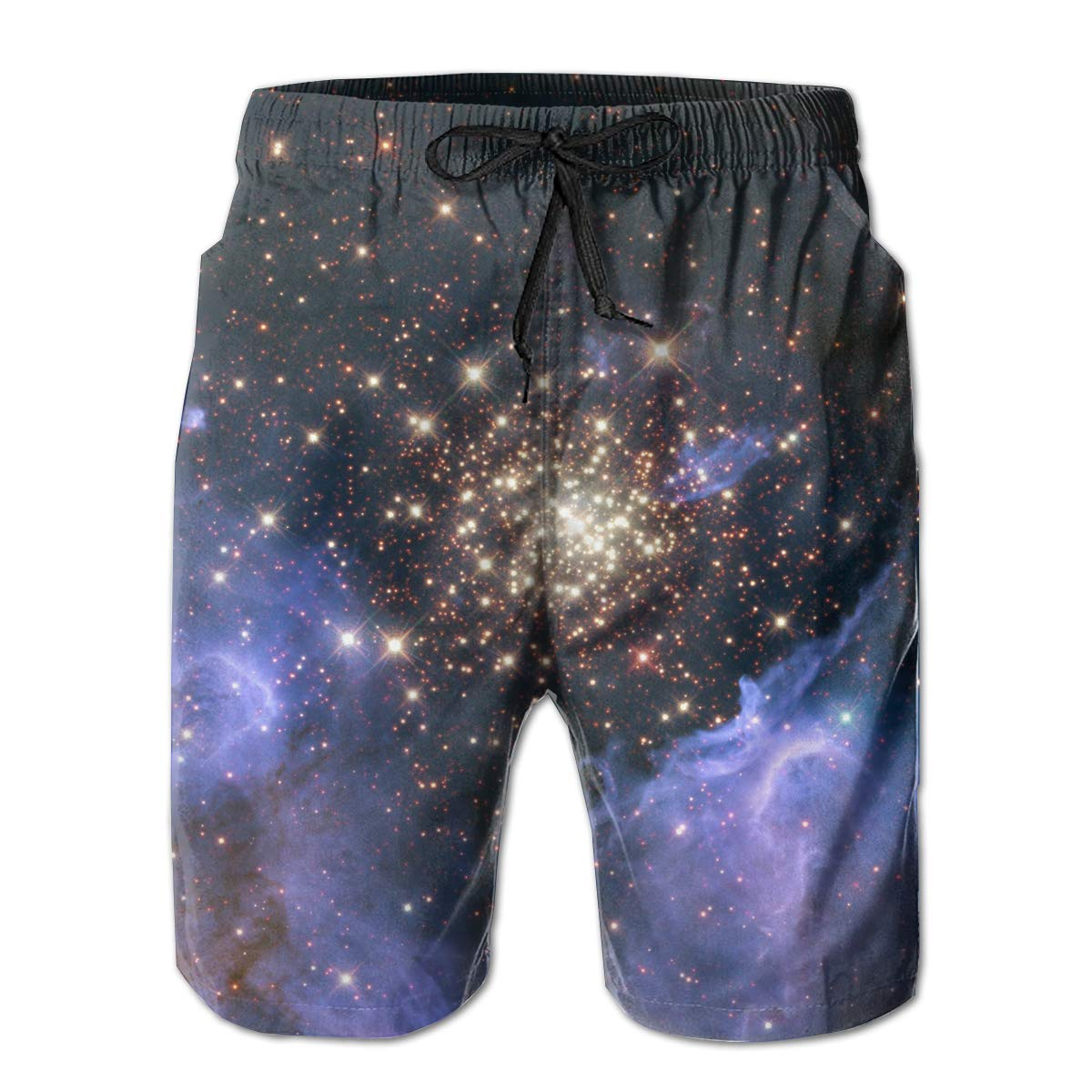 JF-X Celestial Fireworks Mens Summer Beach Surf Board Shorts Quick Dry Swimming Trunks Casual Loose Sleep Short Pants