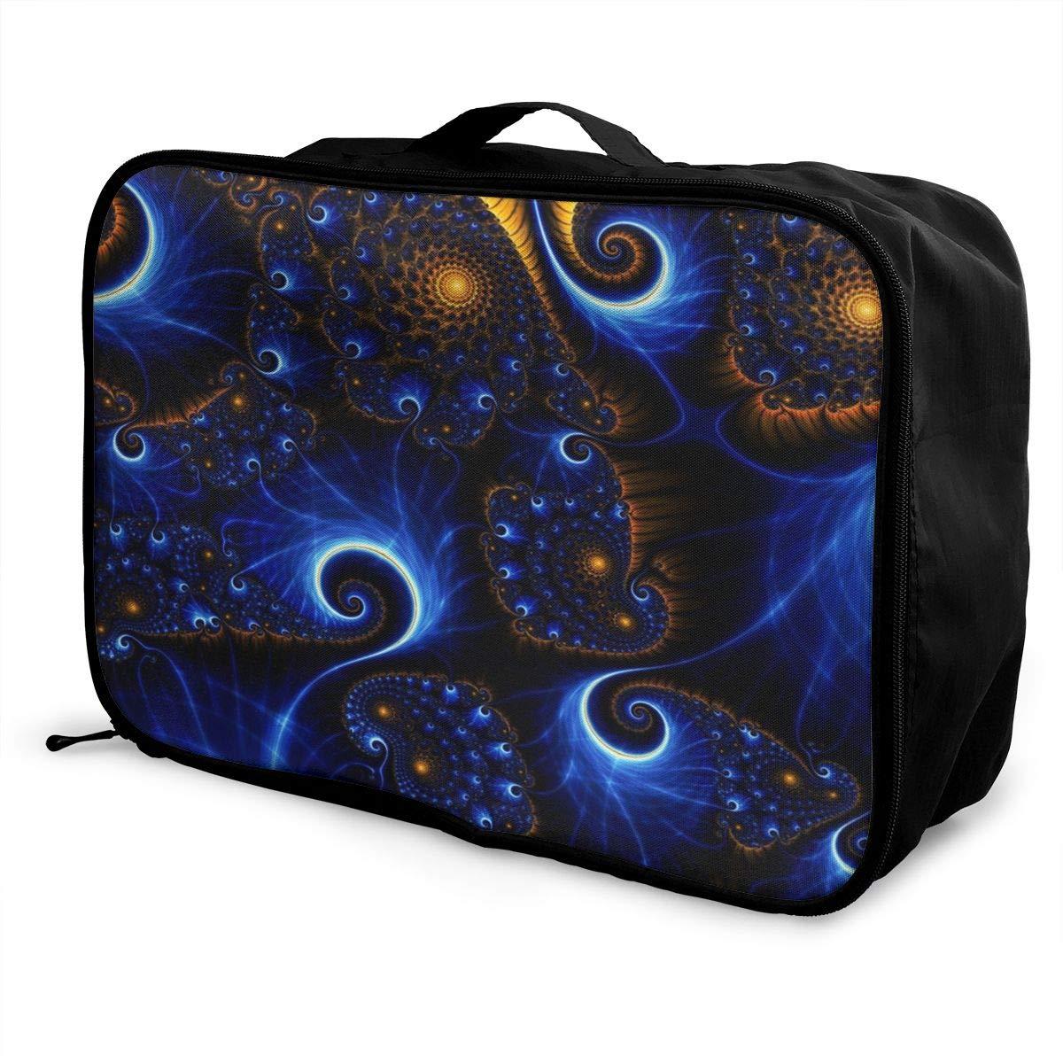 Women /& Men Foldable Travel Duffel Bag Blue Trippy Tie Dye For Luggage Gym Sports
