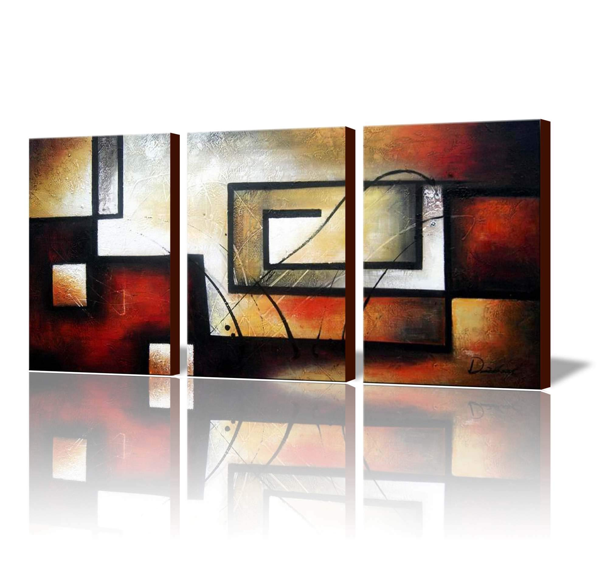 ARTLAND Modern 100% Hand Painted Abstract Oil Painting on Canvas The Maze of Memory 3-Piece Gallery-Wrapped Framed Wall Art Ready to Hang for Living Room for Wall Decor Home Decoration 24x48inches