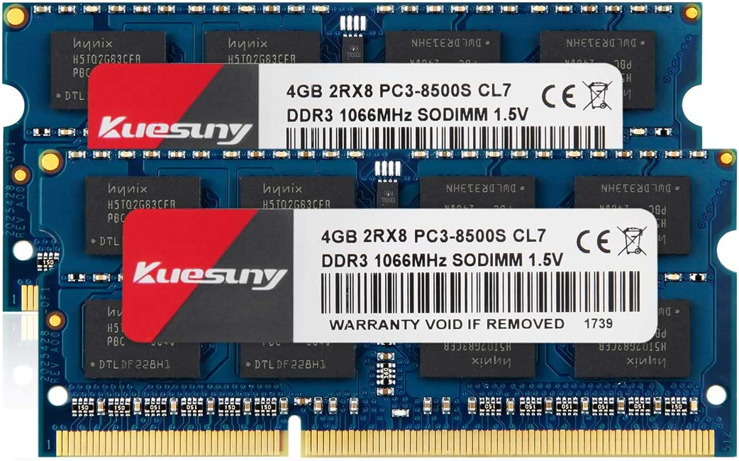 Kuesuny 8GB Kit (4GBX2) DDR3 1066MHZ SODIMM RAM, PC3 8500 / PC3 8500S 204 Pin 1.5V CL7 Non-ECC Unbuffered 2RX8 Dual Rank for Laptop Notebook Computer