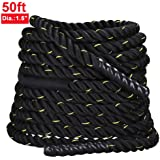 """Yaheetech 1.5"""" 30'/40'/ 50' FDY/POY Battle Ropes Workout Training Exercise Rope Fitness Rope with/without Protector Sleeve"""