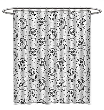 Angel Shower Curtains Mildew Resistant Christmas Cute Winged Girl With Stars Heavenly Amusing Smiling Princess