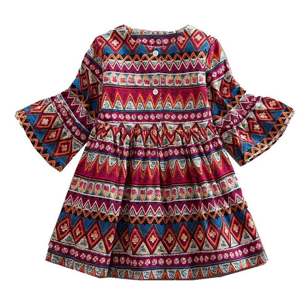 Yaseking Long Sleeve Bohemian Print Princess Dress Clothes Outfits for Toddler Baby Girls(140,Red)