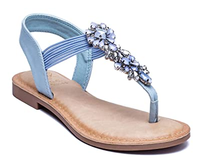 f0c337030 Amazon.com  Gc Shoes Women s Phoebe Jeweled T Strap Flat Thong ...