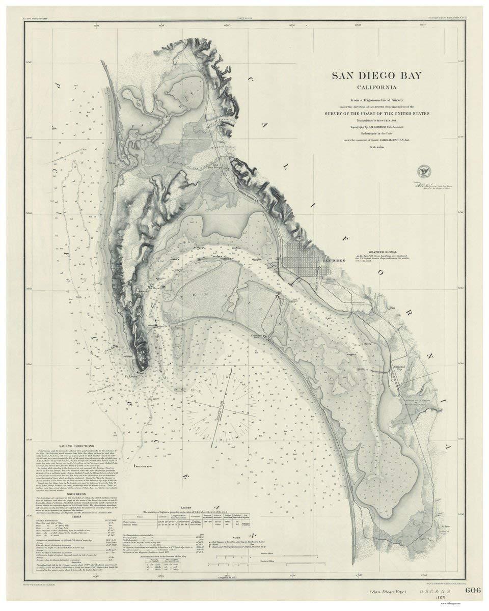 Amazon Com San Diego Bay 1859 Nautical Map False Bay Reprint