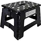 Orgalif Heavy Duty Folding Step Stool with Anti Slip Dots and Strong Support Step Ladder for Adults and Kids (Black)