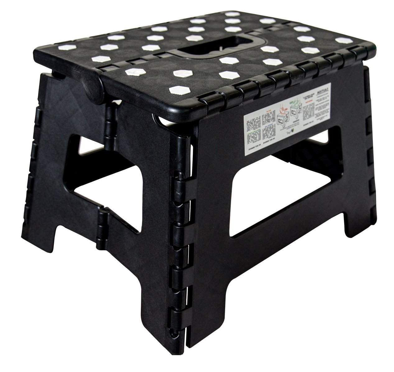 Orgalif Heavy Duty Folding Step Stool with Anti Slip Dots and Strong Support Step Ladder for Adults and Kids (Black) OR0013