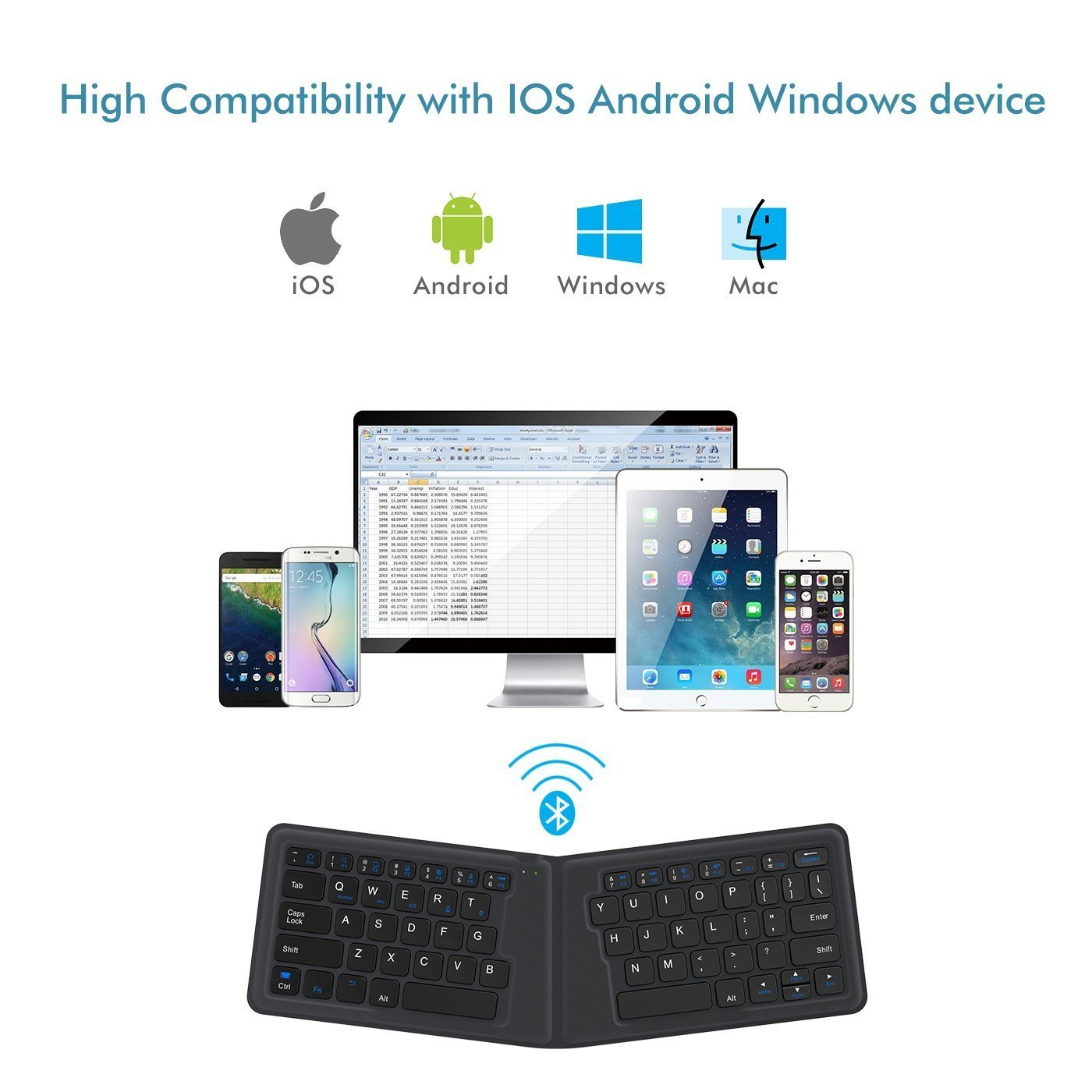 iClever Wireless Folding Designed, Ultra Slim Rechargeable Bluetooth Keyboard for Windows iOS Mac Android Tablets Smartphones, Gray (IC-BK06) by iClever (Image #3)