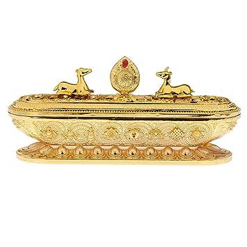 Sharplace Quemador de Incienso Estufa Ornamento de Estilo Tibetano - Metal, Color Oro/Bronce/Cobre - Oro: Amazon.es: Hogar