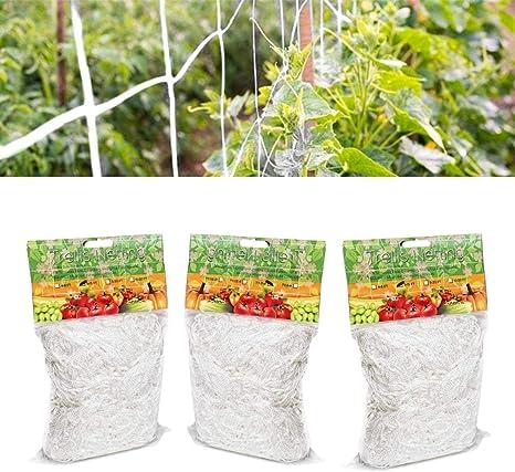 CHENKEE Malla para Plantas Trepadoras, 3 Paquetes Red de Jardín Malla de Apoyo para Escalada Red para Pájaros Resistente de Poliéster para Escalada ...