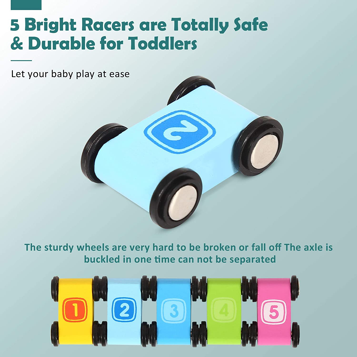 Toddler Gift Belleur Race Track Car for Toddler Ramp Racer Set Play Vehicle Toy for Kids Over 3 Years Old to Enhance Cognitive and Socializing Skills 5 Slides