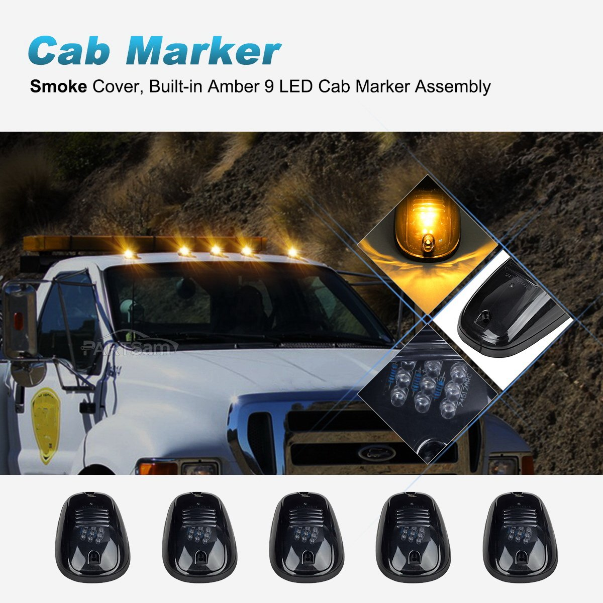 Partsam Cab Marker Lights 5pcs Amber Top Clearance Roof Lucas Wiring Harness Smoke Running With Pack For 2003 2018 Dodge Ram 1500 2500 3500 4500 5500 Pickup