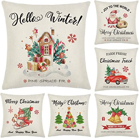 Amazon Com Artivestion Christmas Pillow Covers 18 X 18 Inches Set Of 6 Christmas Decorations For Home Outdoor Christmas Decor Christmas Decorations Throw Pillow Covers Home Kitchen