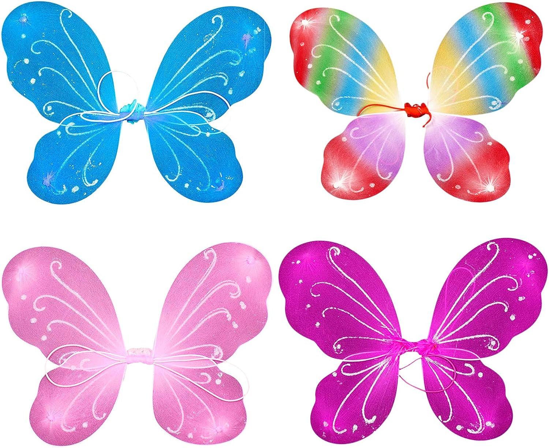 YASSON Schmetterlingsfl/ügel f/ür M/ädchen Feenfl/ügel Kinder Fee Kost/üm Prinzessin Verkleidung Fl/ügel Set Halloween Geburtstag Party Geschenk