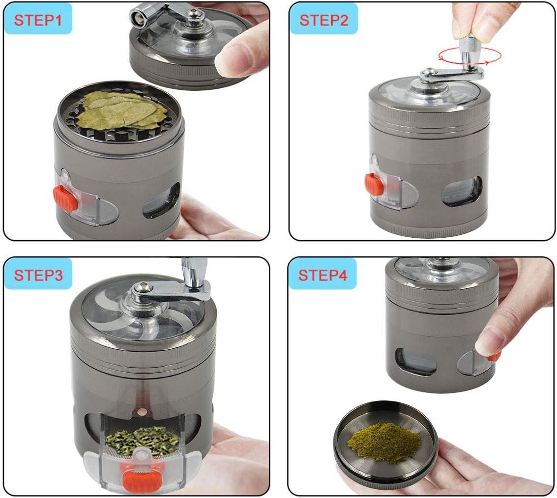 Dark gray Herb Grinder Spice Grinder Hand Cranked Clear Top Grinder 2.5 Inch 4 Pieces Herb Grinder with Drawer 2.48 X 3.11 inch