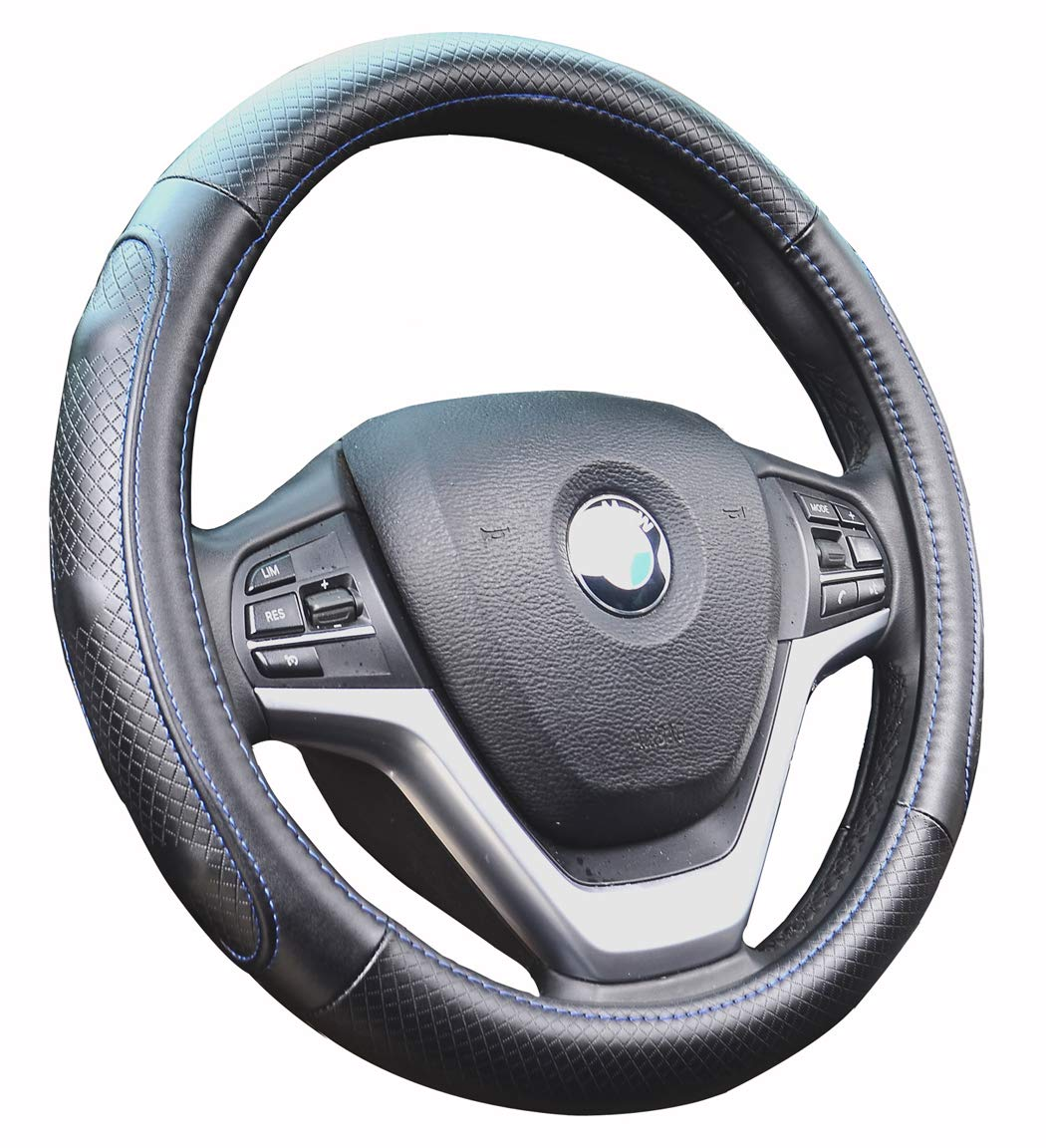Super Accessories Auto Steering Wheel Cover Leather Universal 15 inch Fashion Feel Comfortable with Genuine Leather Steering Wheel Cover for Car Truck SUV (Blue)