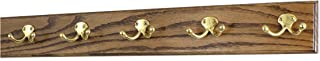 "product image for PegandRail Oak Coat Rack with Solid Brass Double Style Hooks (Walnut, 25.5"" x 3.5"" with 5 Hooks)"