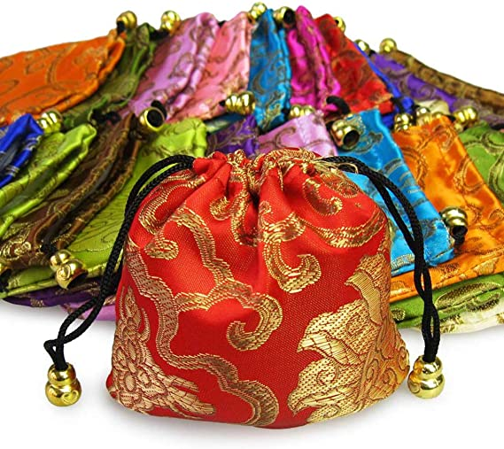 10pcs Silk Brocade Jewelry Pouch Bag Drawstring Coin Purse Embroidered