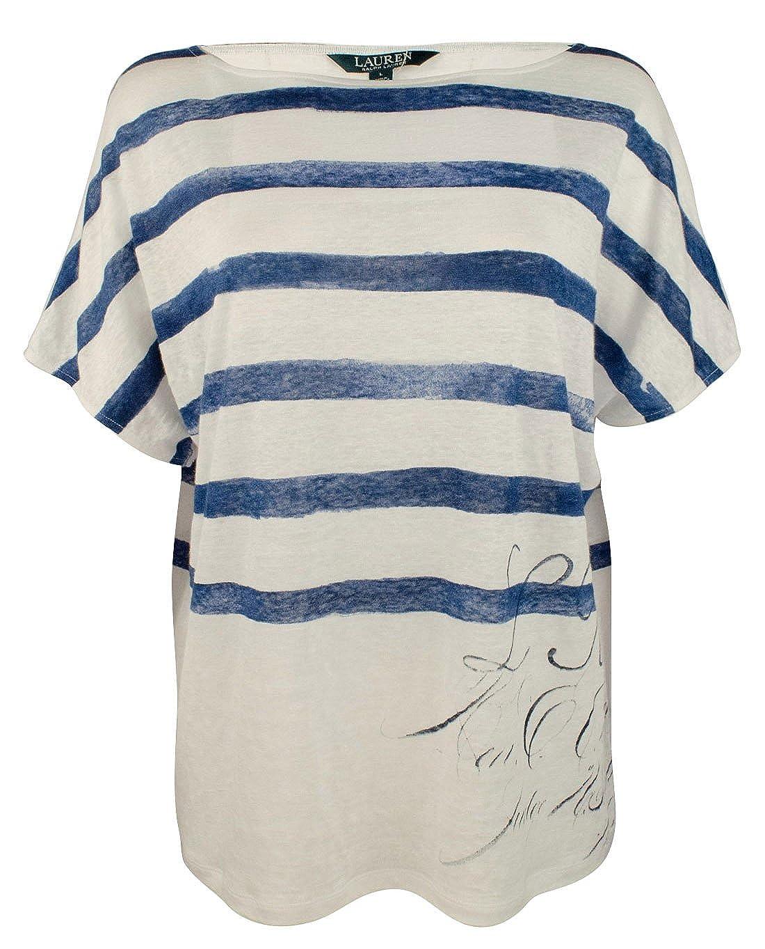 Lauren Ralph Lauren Women s Short-Sleeve Linen Top-M-L at Amazon Women s  Clothing store  17bd5378b