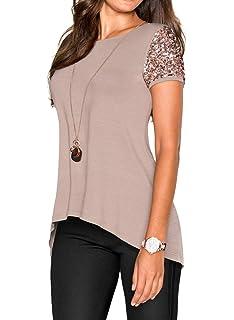 Tee Shirt Elégante Femme Haut Eté Paillettes Manches Courtes Mode Chic  Loisir Irrégulier Rond Col Tshirts dcac8992d7fb