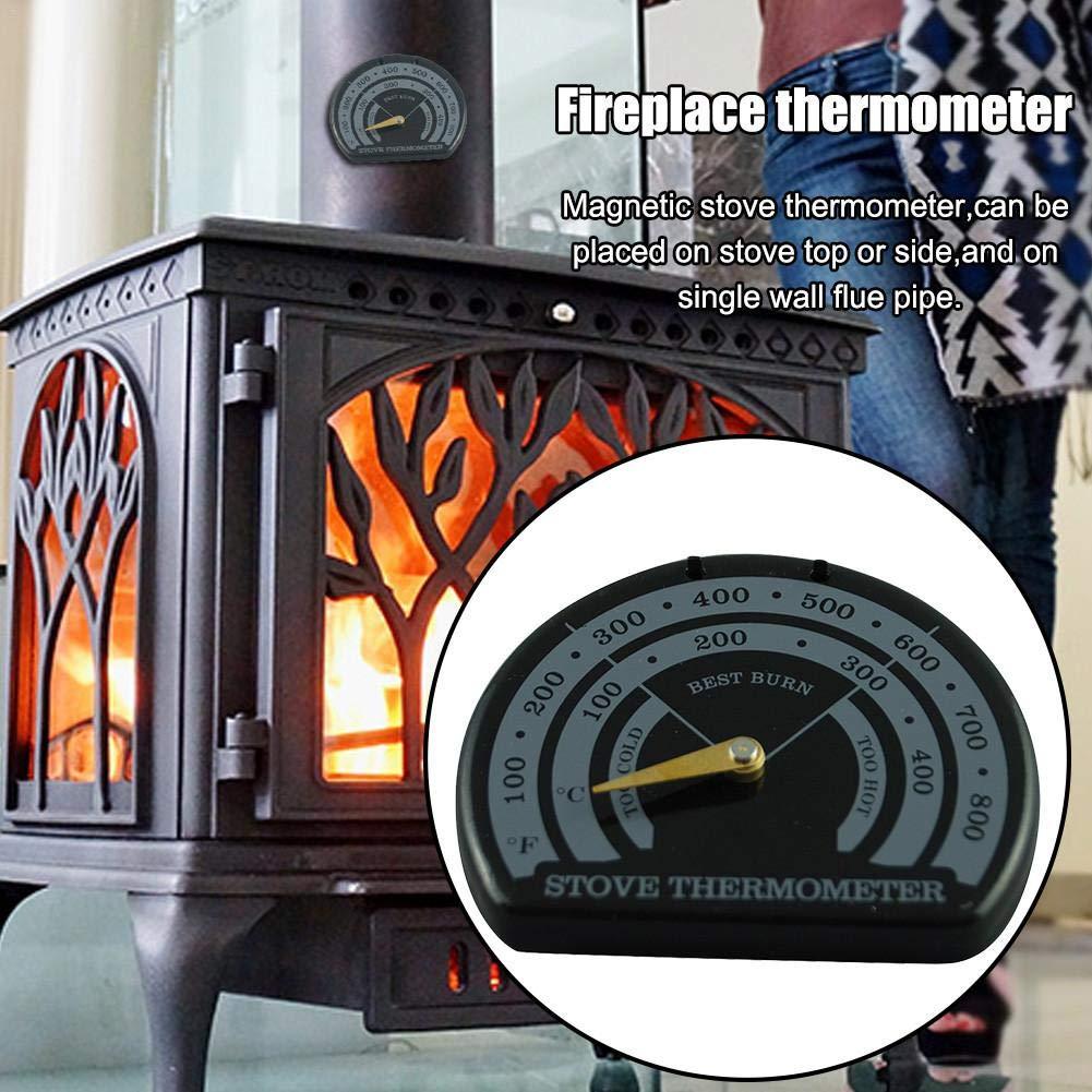 Color Negro term/ómetro para casa hornos Evita da/ños por sobrecalentamiento Tubo para Chimenea pegtopone Term/ómetro magn/ético para Horno 85 70 9 mm para chimeneas dom/ésticas Estufa de le/ña
