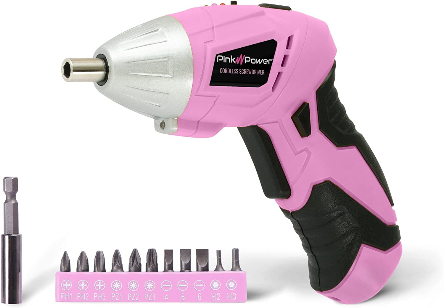 Pink Power PP481 3.6 Volt Cordless Electric Screwdriver Rechargeable Screw Gun & Bit Set for Women - LED light, Battery Indicator and Pivoting Head