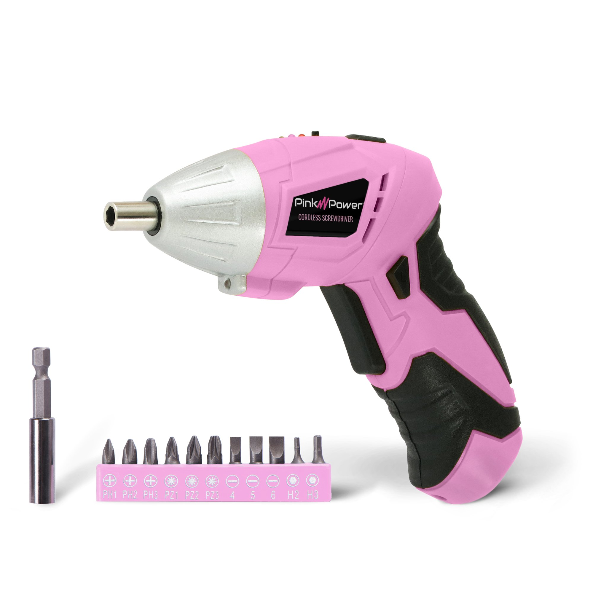 Pink Power PP481 3.6 Volt Cordless Electric Screwdriver Rechargeable Screw Gun & Bit Set for Women - LED light, Battery Indicator and Pivoting Head by Pink Power