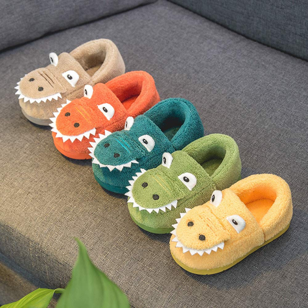 Anyo Girls Boys Home Slippers Warm Dinosaur House Slippers for Toddler Cute House Shoes Fur Lined Winter Indoor Shoes