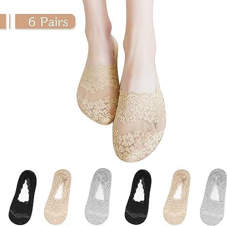 TAGVO 6Pares Calcetines Invisibles Encaje Mujer Algodón Cortos Nylon Calcetines Silicona Antideslizante Negro Nude Gris: Amazon.es: Deportes y aire libre