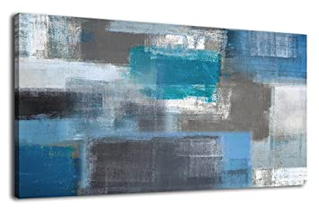 Artewoods Canvas Art Prints Abstract Painting Large Canvas Artwork Blue Panoramic Wall Art For Home Office Decoration Framed Ready To Hang 20 X 40